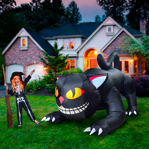 black cat turning head halloween Inflatables