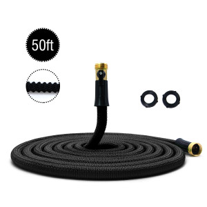 "50ft Garden Hose New Expandable Flexible Garden Hose, 3/4"" Solid Brass Fittings, Double Latex Core, Lightweight Black"