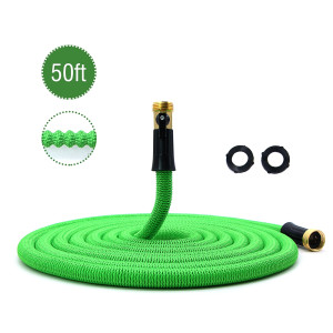 "50ft Garden Hose New Expandable Flexible Garden Hose, 3/4"" Solid Brass Fittings, Double Latex Core, Lightweight Green"