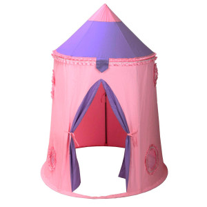 Kid's Foldable Teepee Play Tent - Pink Princess Castle Play Tent Girls Indoor & Outdoor Play House