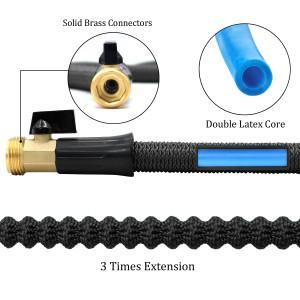"75ft Garden Hose New Expandable Flexible Garden Hose, 3/4"" Solid Brass Fittings, Double Latex Core, Lightweight Black"