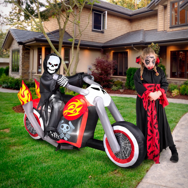 6' Grim Reaper on Flaming Motorcycle Halloween Inflatable