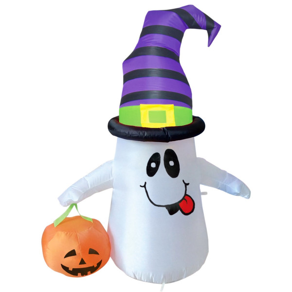 4' Smiling Ghost with Pumpkin Light Up Halloween Inflatable