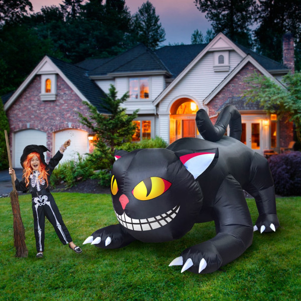 6' Prowling Black Cat with Moving Head Halloween Inflatable By Comin™
