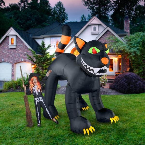 11' Curious Smiling Black Cat Halloween Inflatable