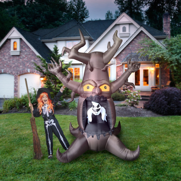 8' Haunted Tree with Ghost Light Up Halloween Inflatable