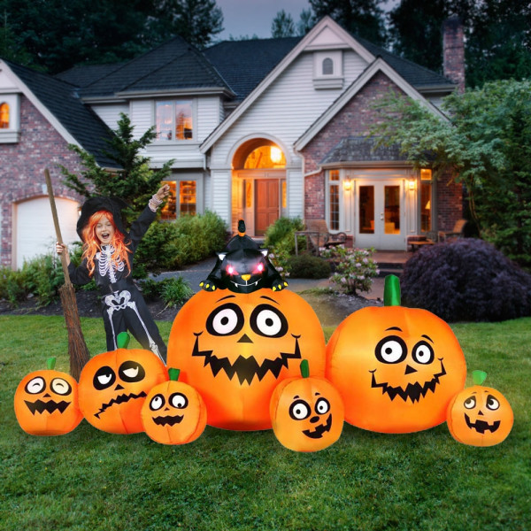 8' Jack 'O' Lantern Family with Cat Light Up Halloween Inflatable