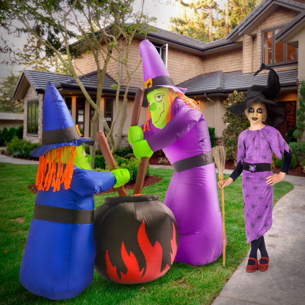 6' Two Witches and a Cauldron Light Up Halloween Inflatable