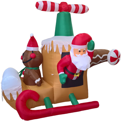Santa Claus & Gingerbread Man Flying Helicopter